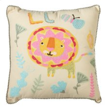Embroidered Lion Pillow.