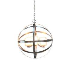 3-Light Modern Orb Chandelier in Brushed Nickel wi
