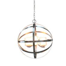 3-Light Modern Orb Chandelier in Brushed Nickel wi
