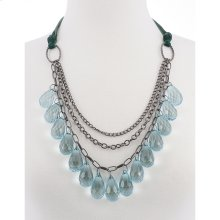 BTQ Blue Crystal Teardrop Necklace