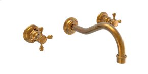 Wall Tub Set Lever Handles - Satin Nickel with Satin Gold