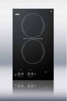 115V two-burner cooktop in black ceramic glass, made in Europe