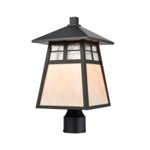 Cottage 1-Light Post Mount in Matte Black with Antique White Art Glass and Clear Textured Glass