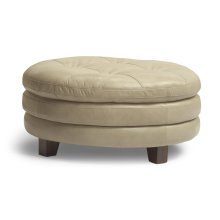 South Street Leather Round Cocktail Ottoman
