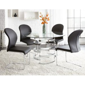 Steve Silver Co.Tayside 5 Piece Set(Glass Top Table & 4 Side Chairs)