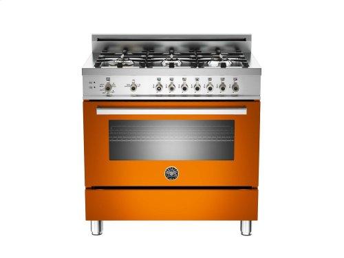 36 6-Burner, Gas Oven Orange
