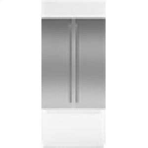 "Sub-ZeroClassic 42"" French Door Stainless Steel Flush Inset Door Panel with Tubular Handle"
