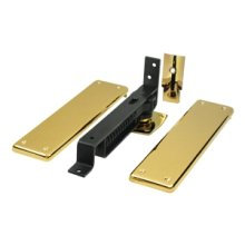 Spring Hinge, Double Action w/ Solid Brass Cover Plates - PVD Polished Brass