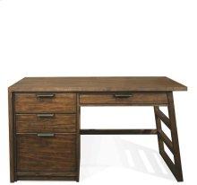 Perspectives Single Pedestal Desk Brushed Acacia finish