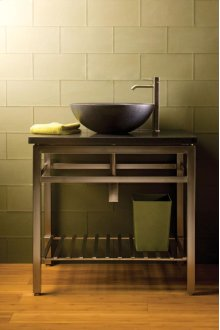 Stainless Console Countertop / Honed Basalt