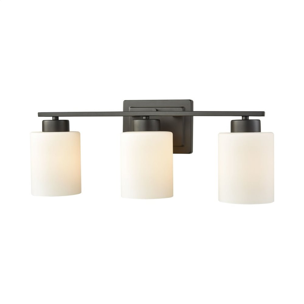Summit Place 3-Light for the Bath in Oil Rubbed Bronze with Opal White Glass