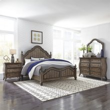 Queen Poster Bed, Dresser & Mirror, N/S