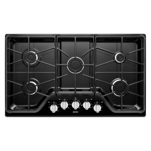 36-inch Wide Gas Cooktop with Power Burner - BLACK
