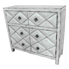 Augusta 2 Door / 2 Drawer Distressed White Diamond Design Cabinet