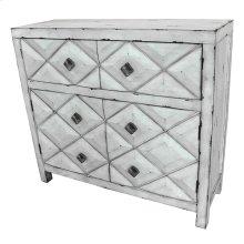 Augusta 2 Door / 2 Drawer Distressed White Diamond Design Cabinet
