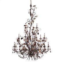 Cristallo Fiore 18-Light Chandelier in Deep Rust with Clear and Amber Florets