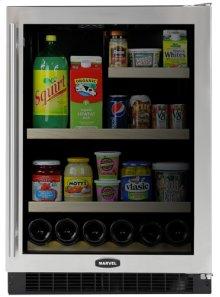"24"" Marvel Glass Door Refrigerator / Beverage Center, Right Hinge, Black Cabinet, STAINLESS frame glass door"