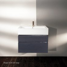 Wall-mount undercounter vanity with finger pulls, no polished steel accents, both drawers have U-shaped notch for plumbing, washbasin 5468 sold separately,