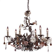 Cristallo Fiore 6-Light Chandelier in Deep Rust with Clear and Amber Florets