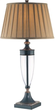 Table Lamp, Dark Bronze/marble Base/pleated Shade, A 100w