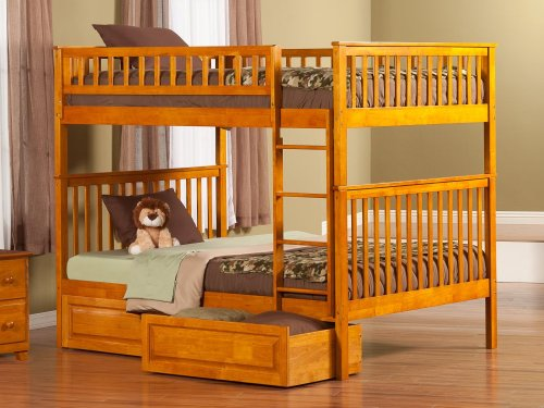 Woodland Bunk Bed Full over Full with Raised Panel Bed Drawers in Caramel Latte