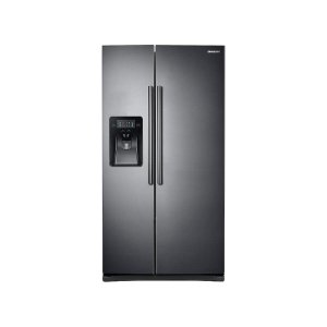 Samsung25 cu. ft. Side-by-Side Refrigerator with LED Lighting in Black Stainless Steel