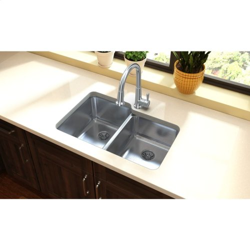 """Elkay Lustertone Classic Stainless Steel 31-1/4"""" x 20-1/2"""" x 9-7/8"""", Double Bowl Undermount Sink w/ Perfect Drain"""