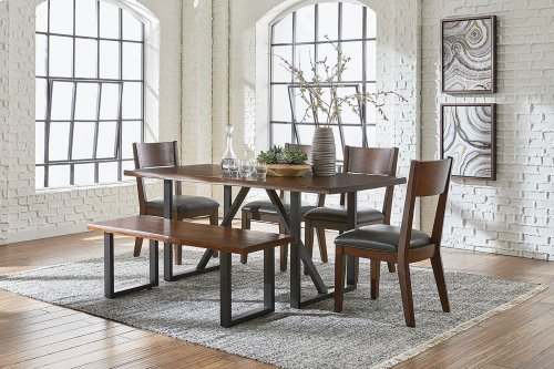 STANDARD 14101-14104-14105 Sierra II Rectangular Table, 4 Side Chairs & Bench