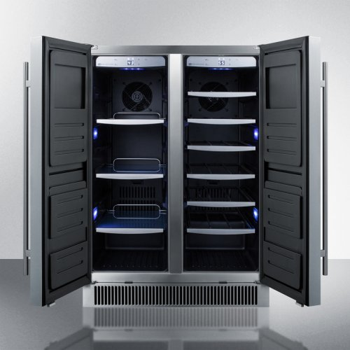 Dual Zone Outdoor Wine Cellar for Built-in or Freestanding Use, With French Door Swing, Stainless Steel Construction, and Digital Controls