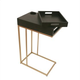 Metal / Wood Chairside Table W Removable Tray, Black/gold