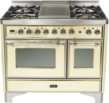 "Antique White 40"" 6 Burner Majestic Techno Dual Fuel Range"