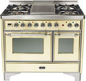 "Antique White 40"" 6 Burner Majestic Techno Dual Fuel Range"