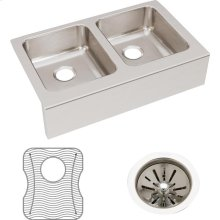 """Elkay Lustertone Classic Stainless Steel 33"""" x 20-1/2"""" x 7-7/8"""", Equal Double Bowl Farmhouse Sink Kit"""