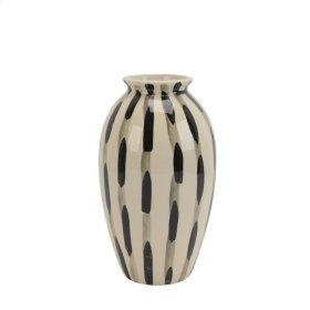 """Ceramic Vase 11"""", Black/white"""