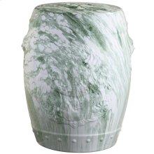 Seraphina Marble Garden Stool - White / Green