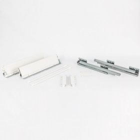 164 mm Height x 550 mm Length Heavy Duty White Soft-close Metal Drawer Box System with 10 mm Dowels