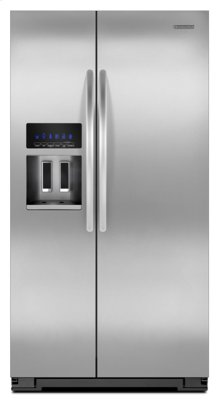 Closeout Monochromatic Stainless Steel KitchenAid® 23 Cu. Ft. Counter-Depth Side-by-Side Refrigerator, Architect® Series II