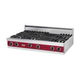 "Apple Red 48"" Sealed Burner Rangetop - VGRT (48"" wide, six burners 12"" wide char-grill)"