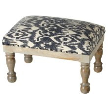 Indigo Ikat Block Print Stool (Each One Will Vary)