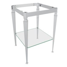 Polished Chrome Deco Wash Stand With Glass Shelf