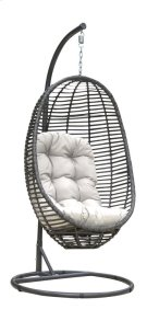 Graphite Woven Hanging Chair with off-white cushion Product Image