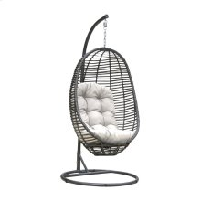 Graphite Woven Hanging Chair with off-white cushion