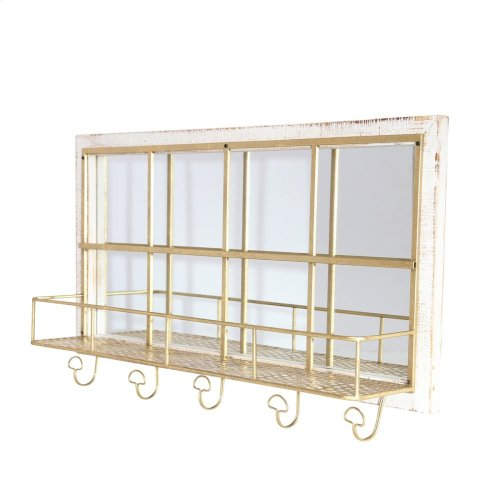 Wood/metal Shelf W/ Hooks