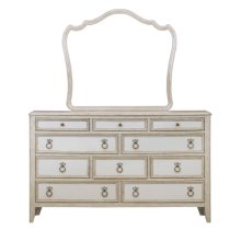 Reece 10 Drawer Dresser in Distressed Cream / White