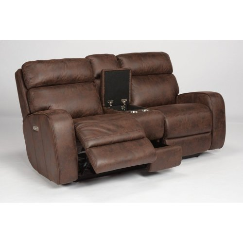 Tomkins Fabric Power Gliding Reclining Loveseat with Console and Power Headrests