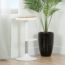 Adjustable Metal Stool with Wood Seat - White