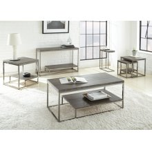 "Lucia Cocktail Table Gray/ Black Nickle, 24""x47""x20"""