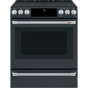 "Cafe30"" Slide-In Front Control Radiant and Convection Range with Warming Drawer"