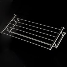 "Wall-mount towel shelf with a towel bar made of stainless steel.W: 19 5/8"" D: 8 7/8""H: 4 3/8"""