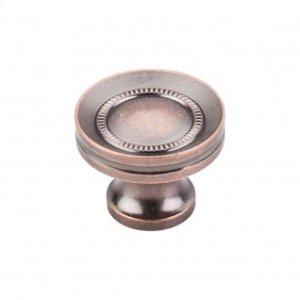 Button Faced Knob 1 1/4 Inch - Antique Copper